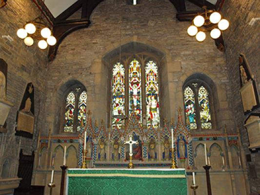 The altar and east window of the church