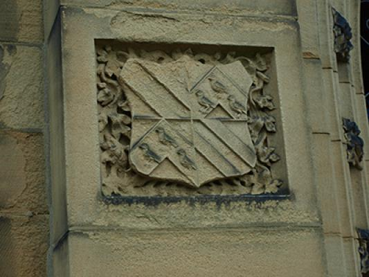 The Kay arms carved in the wall of All Hallows