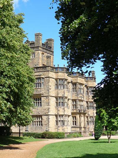 Gawthorpe Hall viewed on the approach from the drive