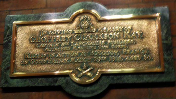 Memorial to Geoffrey Clarkson Kay in St Mary, Bury
