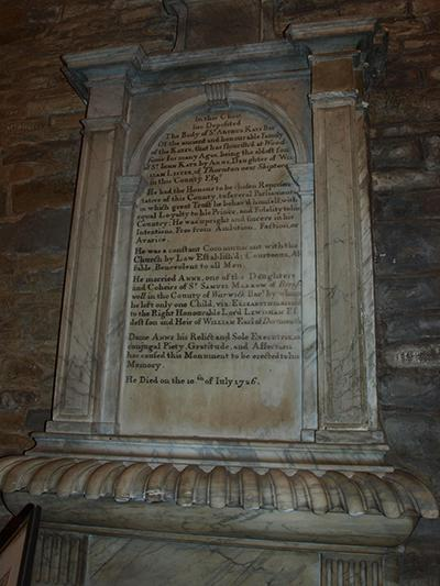 The tomb of Sir Arthur Kaye, the last Kaye of Woodsome