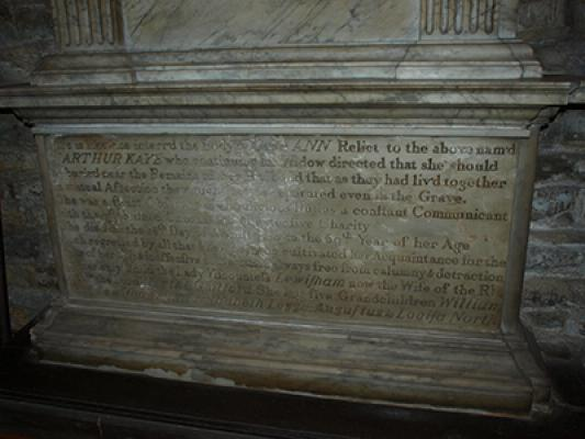 The tomb of Sir Arthur Kaye's wife Ann