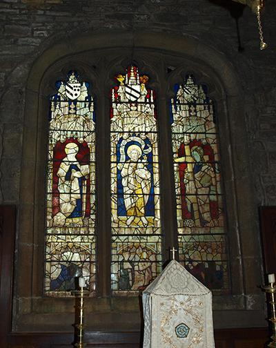 The stained glass window in the Kaye Chapel, dating from the fifteenth century