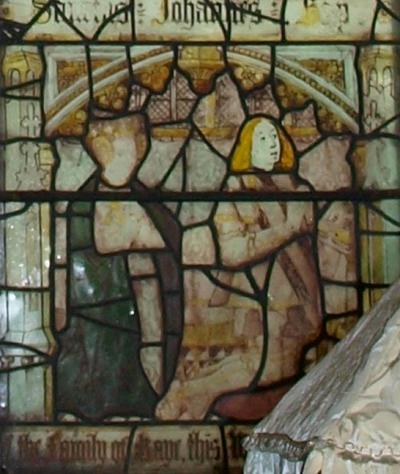 A detail from the stained glass window in the Kaye chapel