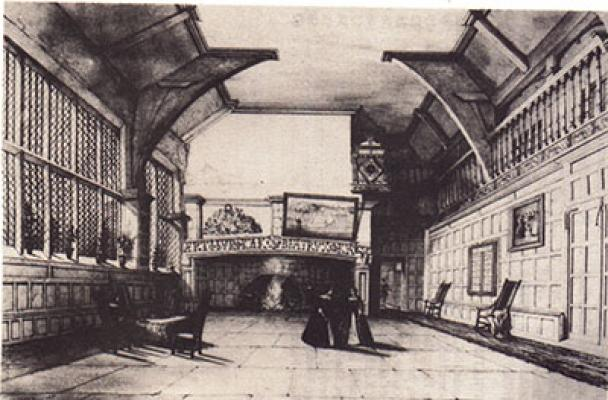 The hall at Woodsome as might have appeared